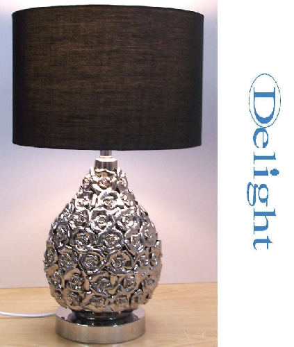 Large metallic chrome roses table lamp c w black shade aloadofball Gallery