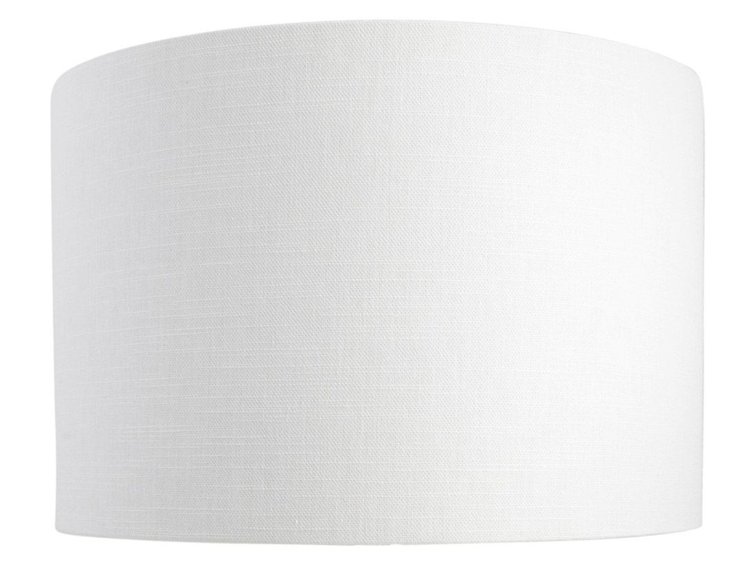 Leanne white linen style cylinder drum lampshade mozeypictures Image collections