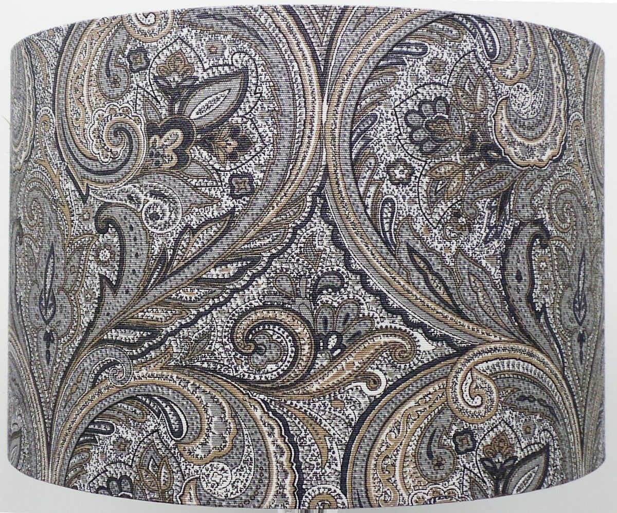 Paisley Silver Grey Linen Style Cylinder Drum Lampshade